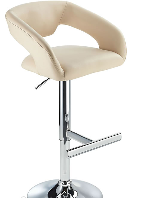 Mesoni Kitchen Breakfast Bar Stool T Bar Footrest Cream Padded Seat Height Adjustable