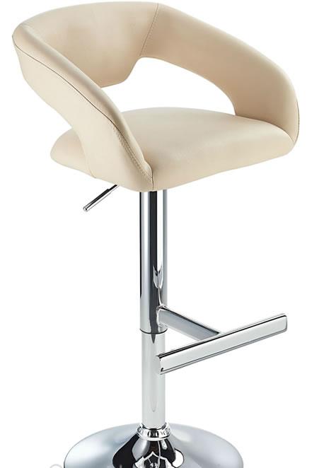 Mesoni Kitchen Breakfast Bar Stool T Bar Footrest Cream Padded Seat Height Adjustable