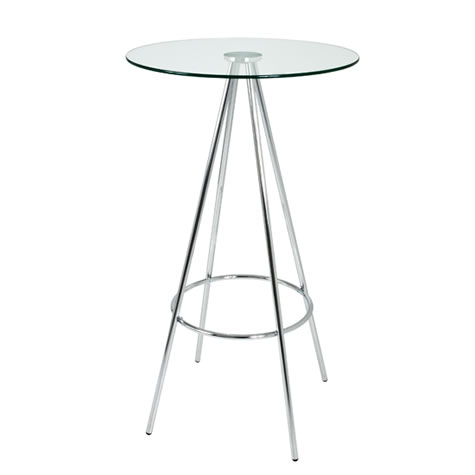 Greyen Tall Bar Poseur Kitchen Table Clear or Black Glass with chrome frame