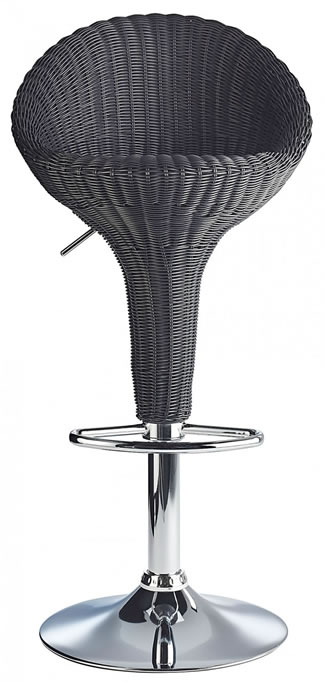 Blazone Black Rattan Style Modern Kitchen Bar Stool Height Adjustable