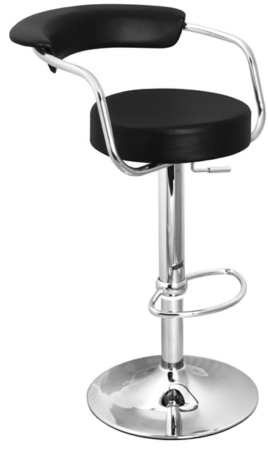 Berty Black Cushioned Kitchen Breakfast Bar Stool Padded Seat and Back