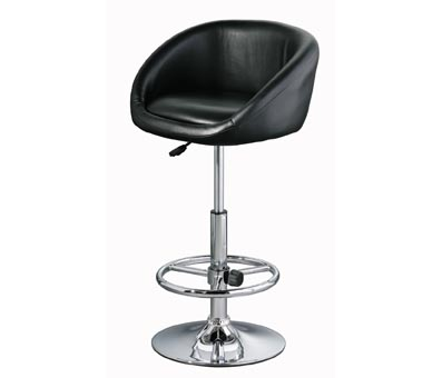 Marina Adjustable Kitchen Bar Stool Black Faux Leather Padded Seat