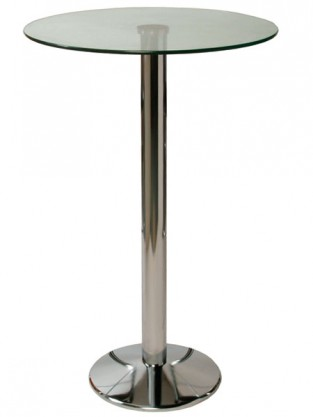 Trine Table Clear Glass Tall Bar Kitchen Poseur Table