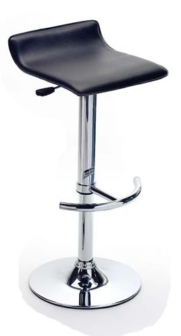 Catone Black Faux Leather Bar Stool Height Adjustable