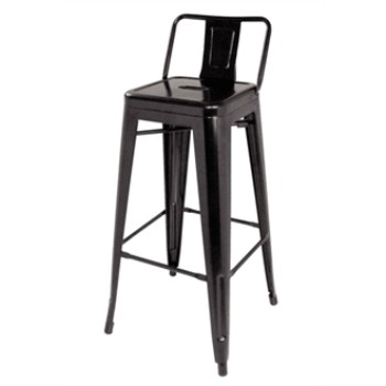 Helio Steel Stool with Back - Black Set of 4