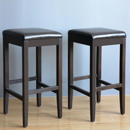 Pair Mila Black Padded Stool - Faux Leather and Wood Fully Assembled