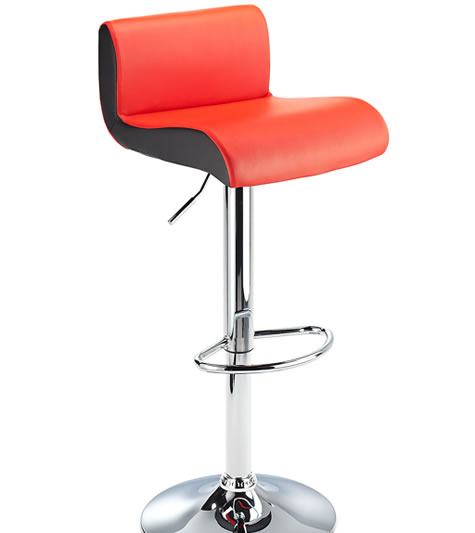 Modern Harvard Height Adjustable Bar Stool Red Faux Leather with Contrast Black Side Panels