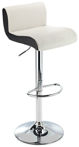 Modern Harvard Height Adjustable Bar Stool - White Faux Leather with Contrast Black Side Panels