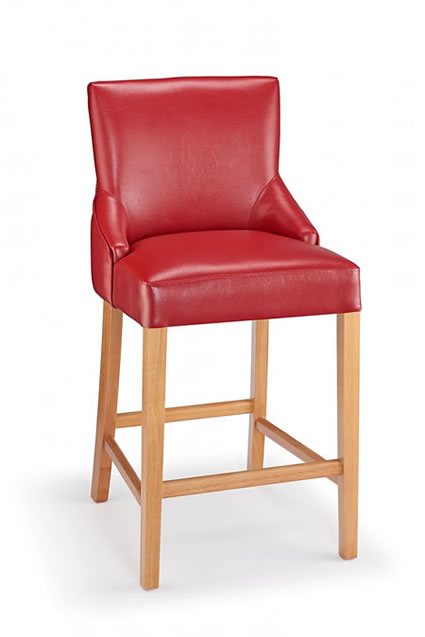 Naponese Oak Wood Stylish Kitchen Breakfast Bar Stool Red Padded Seat Fully Assembled