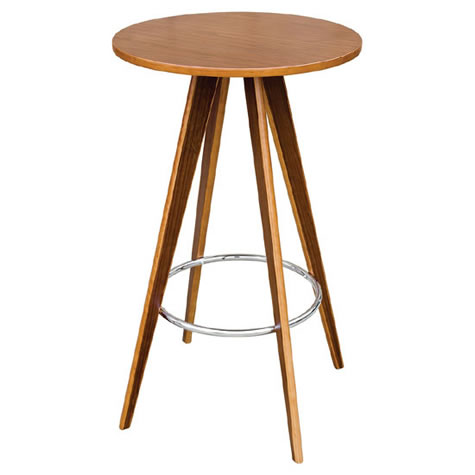 Bravo Bar Table Round In Walnut Wood Veneer With Chrome Foot Res