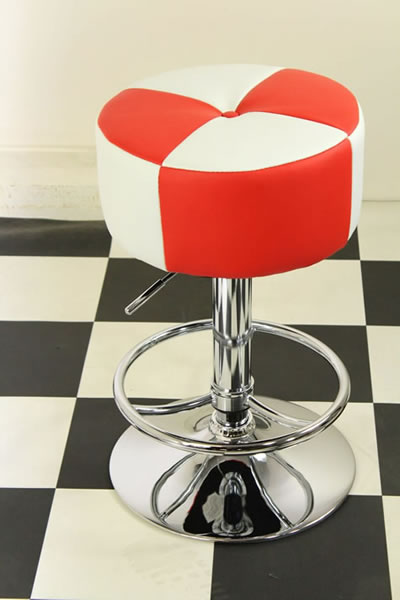 Morasi American Diner Retro Style Kitchen Bar Stool Red and White Padded Seat