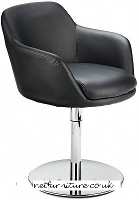 Candon Modern Swivel Chair - Black Padded Seat Chrome Frame