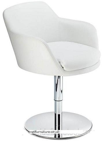 Candy Modern Swivel Chair - White Padded Seat Chrome Frame