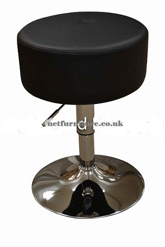 Low Bar Stool - Black Padded Seat Height Adjustable