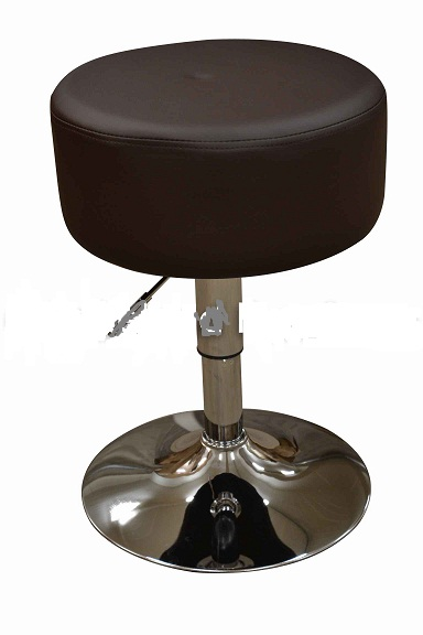 Low Bar Kitchen Stool - Brown Padded Seat Height Adjustable