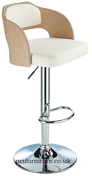 Agadir Ratan Height Adjustable  Bar Stool with padded seat