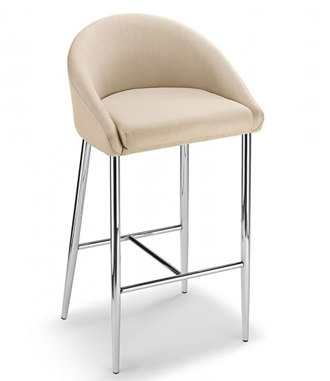Cayfon Fabric Kitchen Breakfast Bar Stool Chrome Fixed height 4 Colours Padded Back Rest