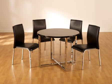 carine round black dining set