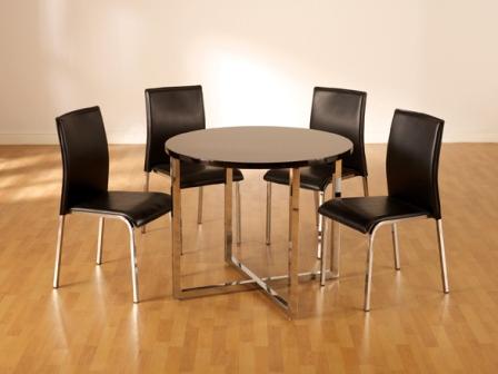carine round black dining set