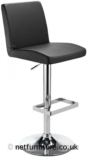 Caldew Height Adjustable Kitchen  Bar Stool - with padded black swivel seat