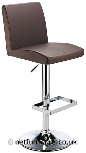 Caldew Height Adjustable Kitchen  Bar Stool - with padded brown swivel seat