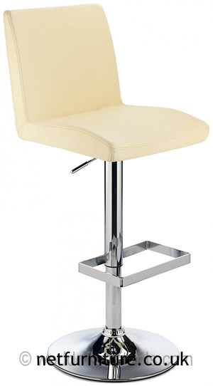 Caldew Height Adjustable Kitchen  Bar Stool - with padded cream swivel seat