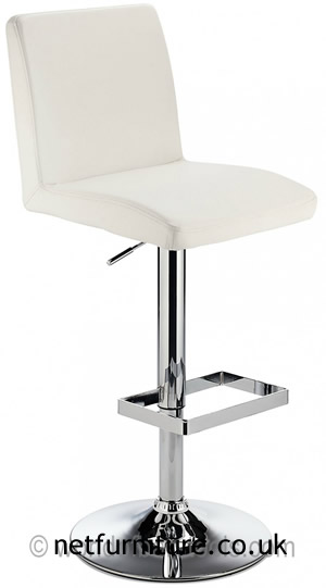 Caldew Height Adjustable Kitchen  Bar Stool - with padded white swivel seat