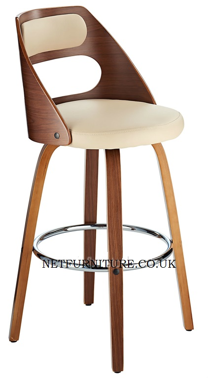 Luana Fixed Height Wooden Bar Stool with padded seat