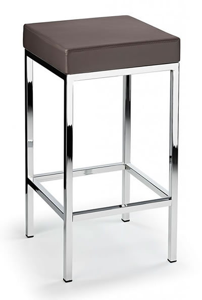 Ernest Kitchen Bar Stool Brown Padded Seat Chrome Frame