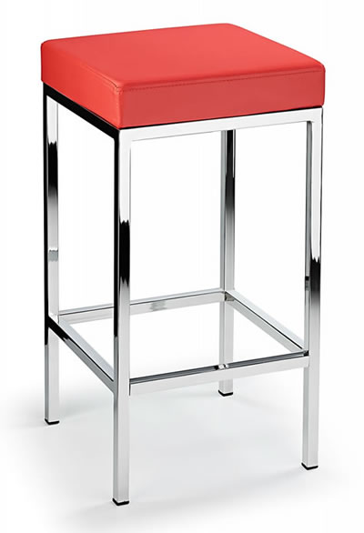 Ernest Kitchen Bar Stool Red Padded Seat Chrome Frame