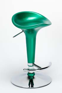 Chicago Bar Stool ABS seat Gas Lift Swivel Chrome and Steel - Green