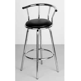 Shiny Chrome Bar Stool with padded black seat