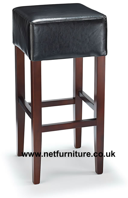 Primo Wooden Bar Stool - Real Top Grain Bonded Black Quality Leather Seat - Walnut Frame Fully Assembled