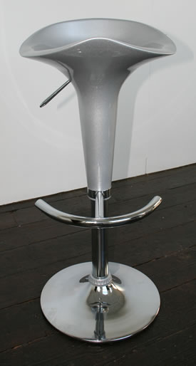 classic bar stool gloss silver seat chrome frame height adjustable