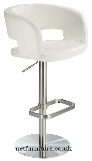 Appius Real Leather Height Adjustable Bar Stool Brushed Frame