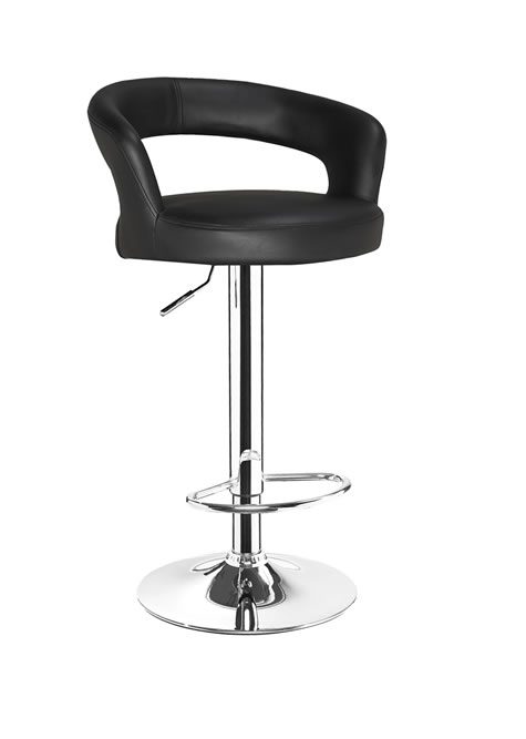 Classony Black Kitchen Breakfast Bar Stool Height Adjustable Padded Seat and Back