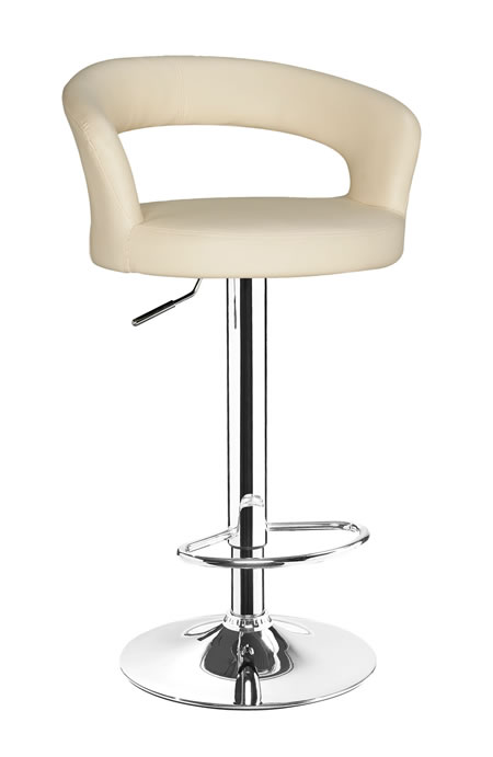 Classony Cream Kitchen Breakfast Bar Stool Height Adjustable Padded Seat and Back