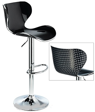 Vercelli Acrylic Adjustable Bar Stool With Black Swivel Seat