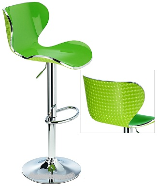 Vercelli Acrylic Adjustable Bar Stool With Green Swivel Seat