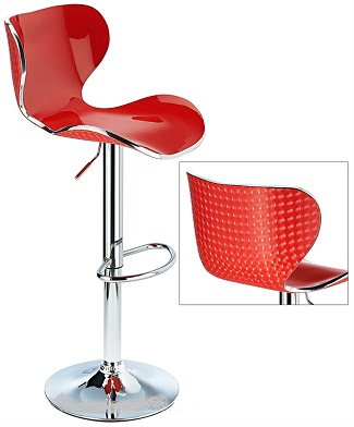 Vercelli Acrylic Adjustable Bar Stool With Red Swivel Seat