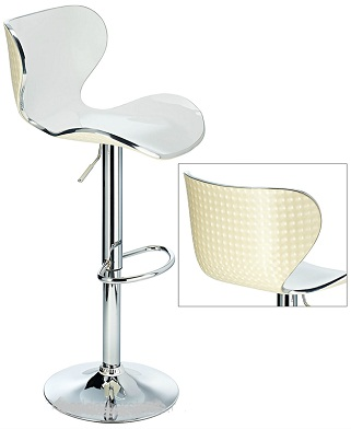 Vercelli Acrylic Adjustable Bar Stool With White Swivel Seat