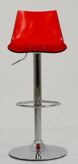 Haley Red Acrylic Perspex Kitchen Breakfast Bar Stool Height Adjustable