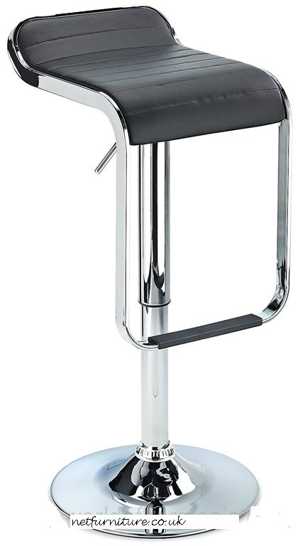 Perry Kitchen Breakfast Bar Stool - Black Padded Seat, Unique Chrome Footrest Height Adjustable