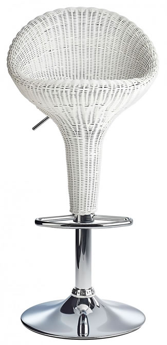 Blazone White Rattan Style Modern Kitchen Bar Stool Height Adjustable