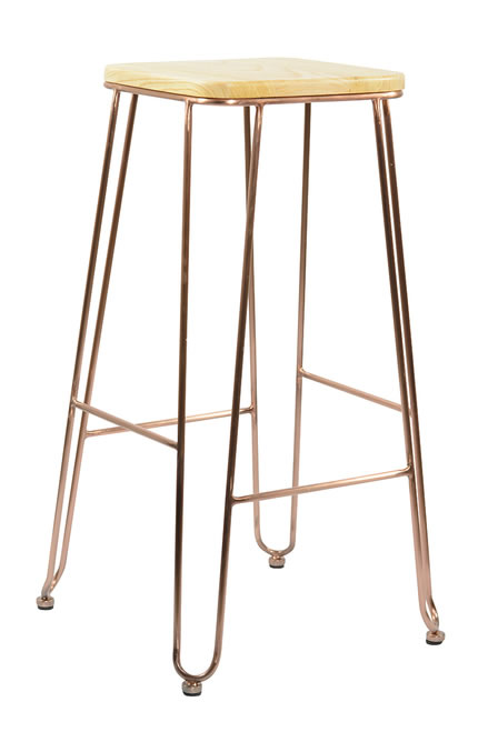 Arzi Copper Frame Kitchen Breakfast Bar Stool Industrial Vintage Style