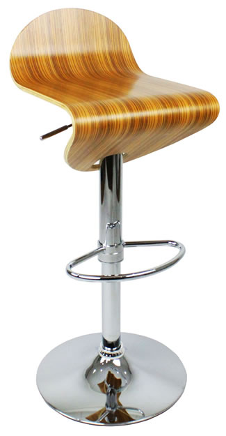 Gordon Adjustable Stool Zebra Wood Seat Height Adjustable
