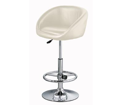 Cream Faux Leather Swivel Stool