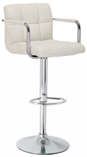 Zazy Cream Padded Arm Bar Stool - Adjustable Cream