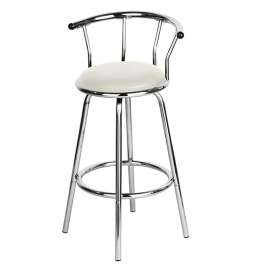 Craymon Cream, White Chrome Swivel Padded Kitchen Bar Stool