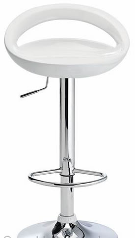 Halfy Half Moon Retro Kitchen Bar Stool - White Seat Height Adjustable